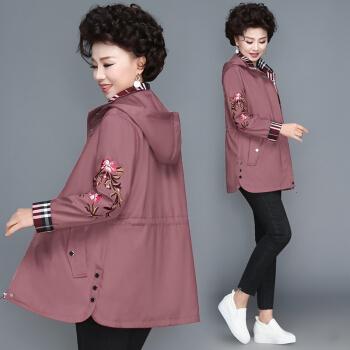 Markentsee 2020秋季时尚中老年女装妈妈装外套上衣服中老年人洋气风衣薄款显瘦 WLPMM