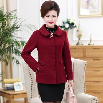 俞兆林 妈妈装毛呢外套中年女中老年女装呢子大衣YTWT197506酒红色3XL