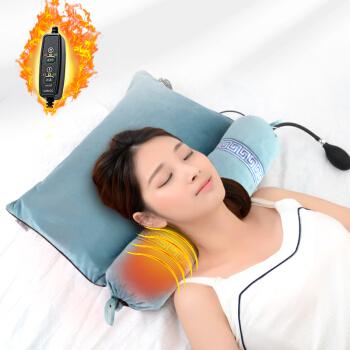 飞天 荞麦决明子颈椎枕头 中草药充气加热枕头 牵引助眠圆柱枕  蓝色
