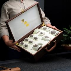 【定制】高档皮盒汝窑组合茶具套装,起订量30套/箱,拍一发30套