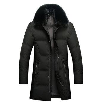 南极人中长款羽绒服男加厚可脱卸大毛领爸爸冬装中老年羽绒服外套 9012 黑色 185/XXL